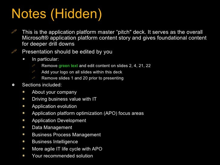 """Notes (Hidden) <ul><li>This is the application platform master """"pitch"""" deck. It serves as the overall Microsoft® appl..."""