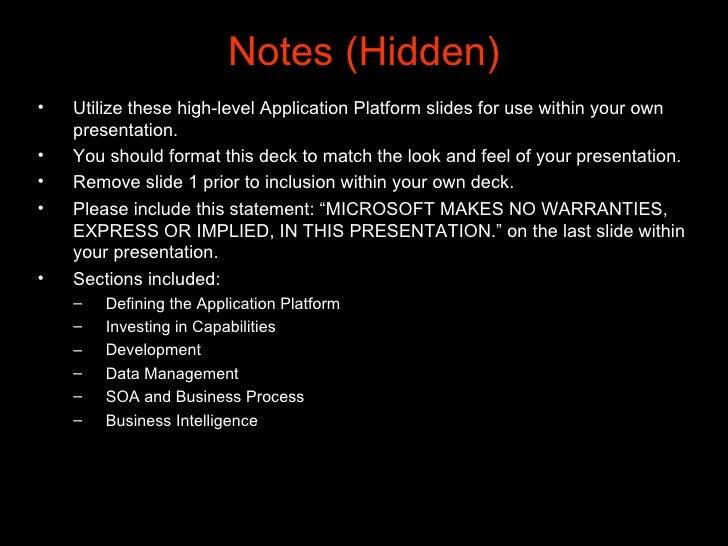 Notes (Hidden) <ul><li>Utilize these high-level Application Platform slides for use within your own presentation.  </li></...