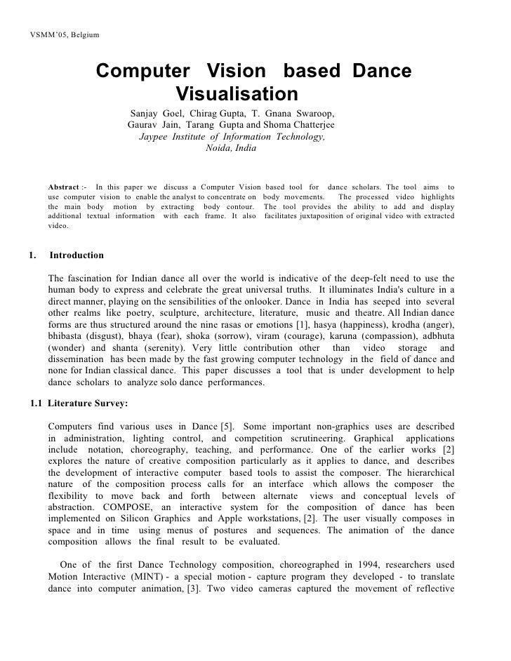 VSMM'05, Belgium                      Computer Vision based Dance                         Visualisation                   ...