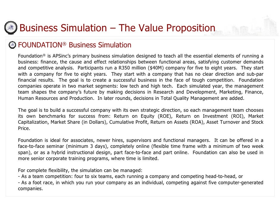 Dashboard business simulation deck for Business simulator