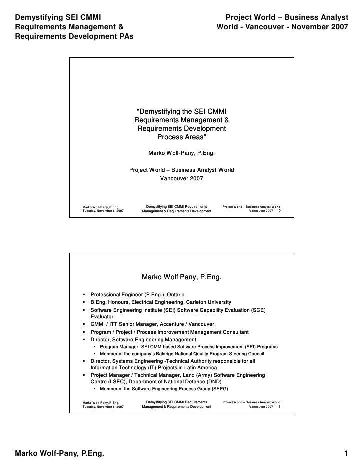 Demystifying SEI CMMI                                                                     Project World – Business Analyst...