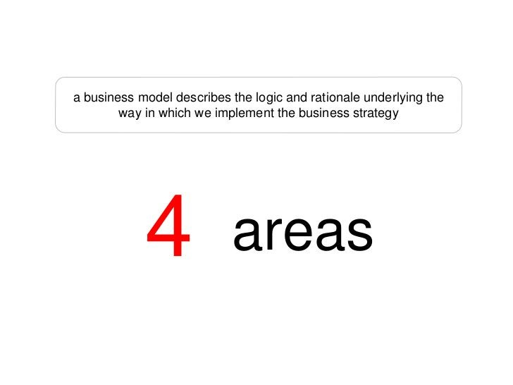 a business model describes the logic and rationale underlying the         way in which we implement the business strategy ...