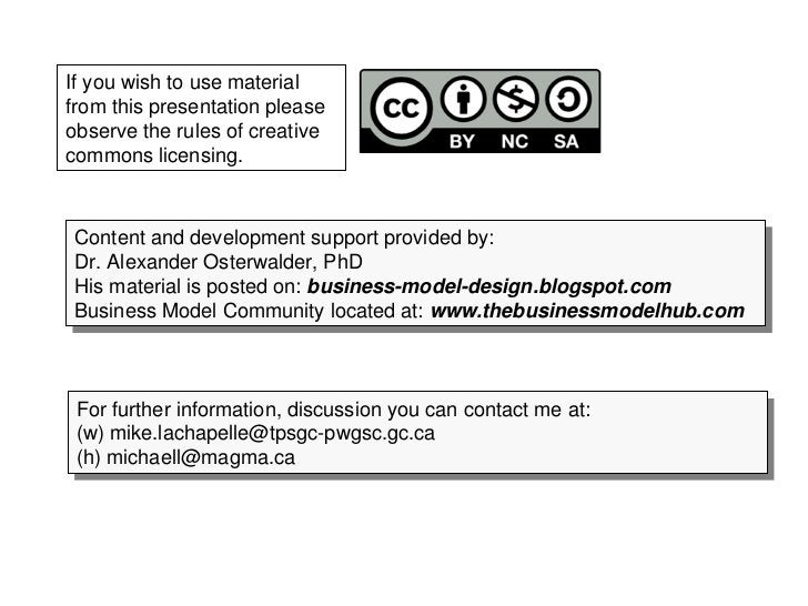 If you wish to use material from this presentation please observe the rules of creative commons licensing.    Content and ...