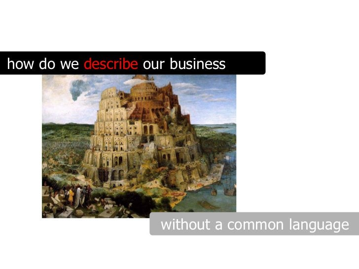 how do we describe our business                          without a common language