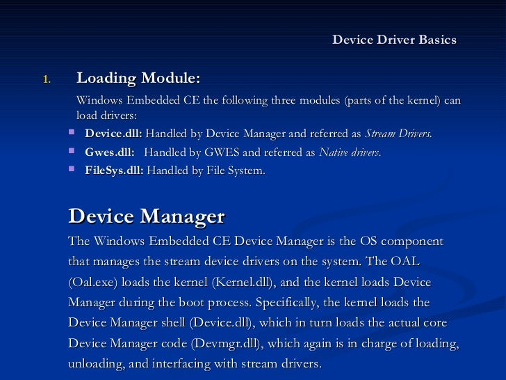 Device Driver in WinCE 6.0 R2