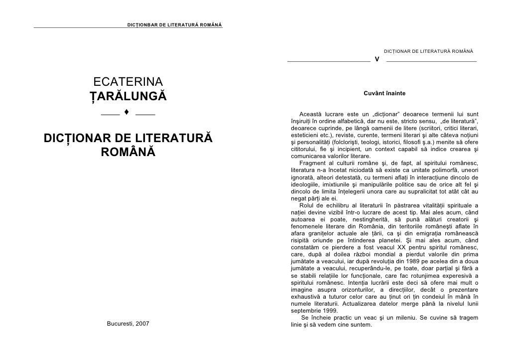 DICŢIONBAR DE LITERATURĂ ROMÂNĂ                                                                                           ...