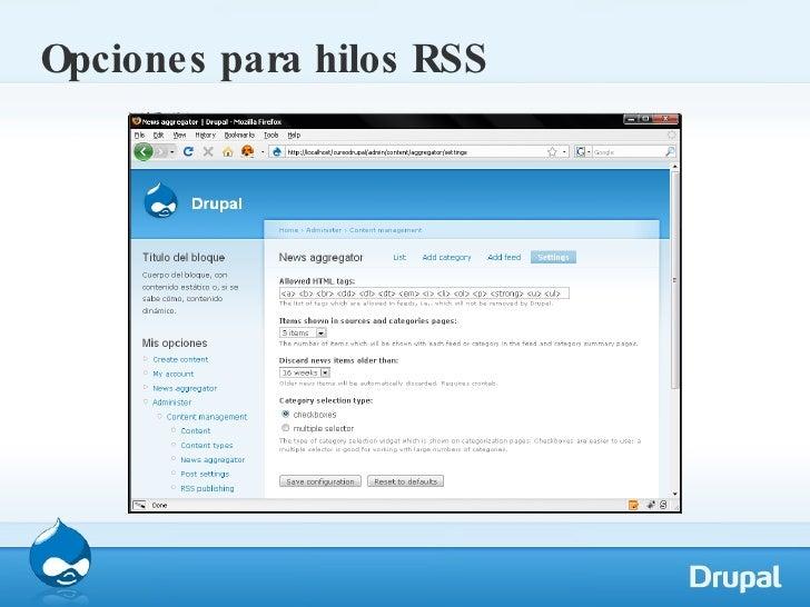 Opciones para hilos RSS