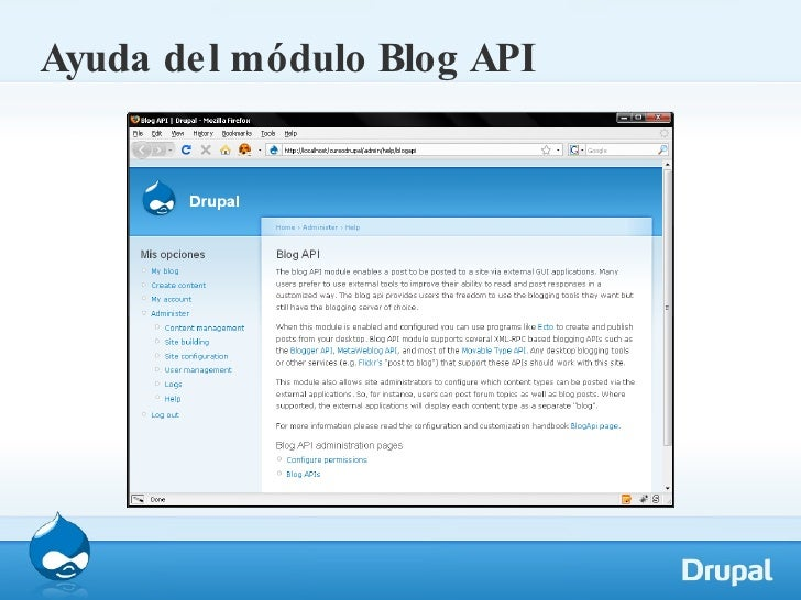 Ayuda del módulo Blog API