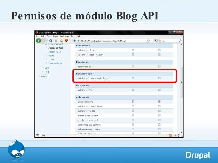 Permisos de módulo Blog API