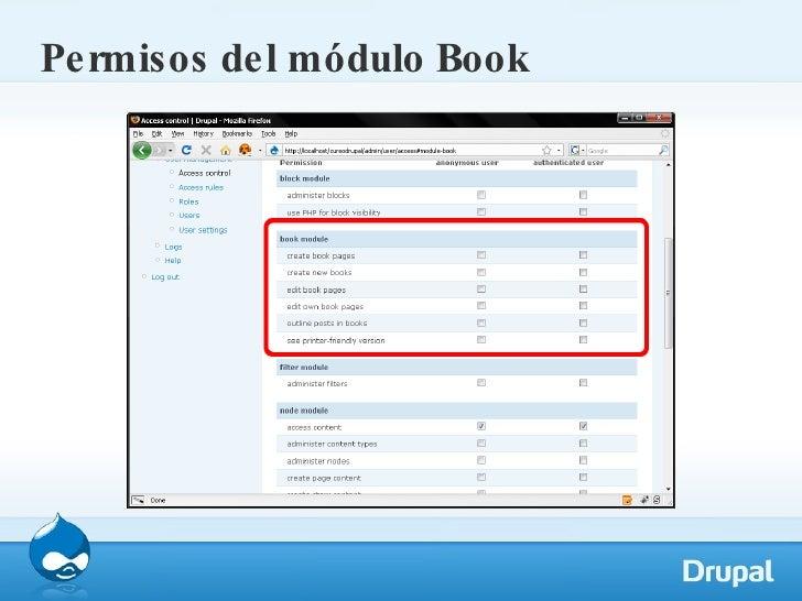 Permisos del módulo Book