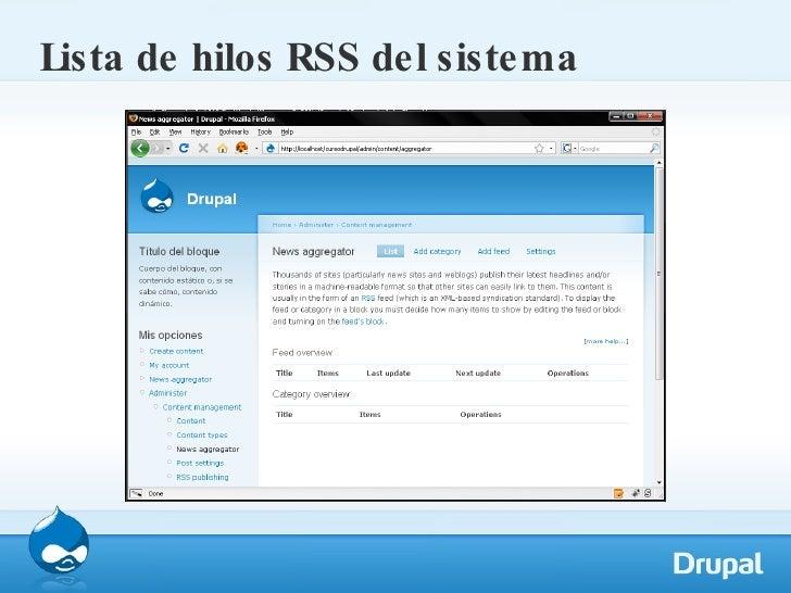 Lista de hilos RSS del sistema