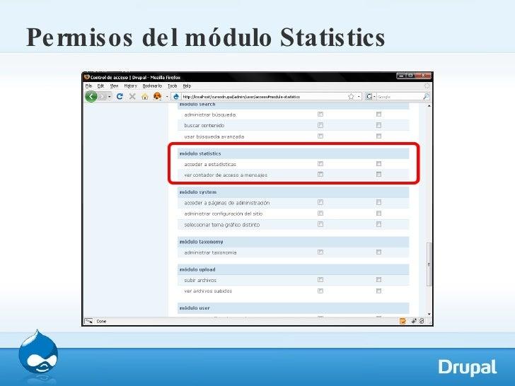 Permisos del módulo Statistics