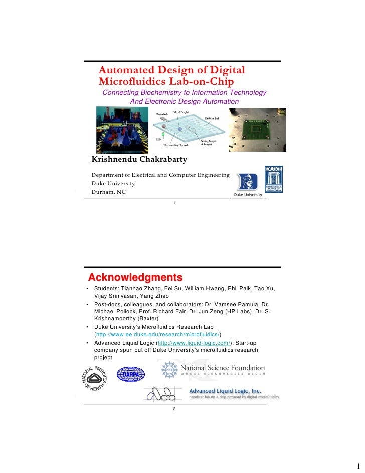 Automated Design of Digital     Microfluidics Lab-on-Chip      Connecting Biochemistry to Information Technology          ...