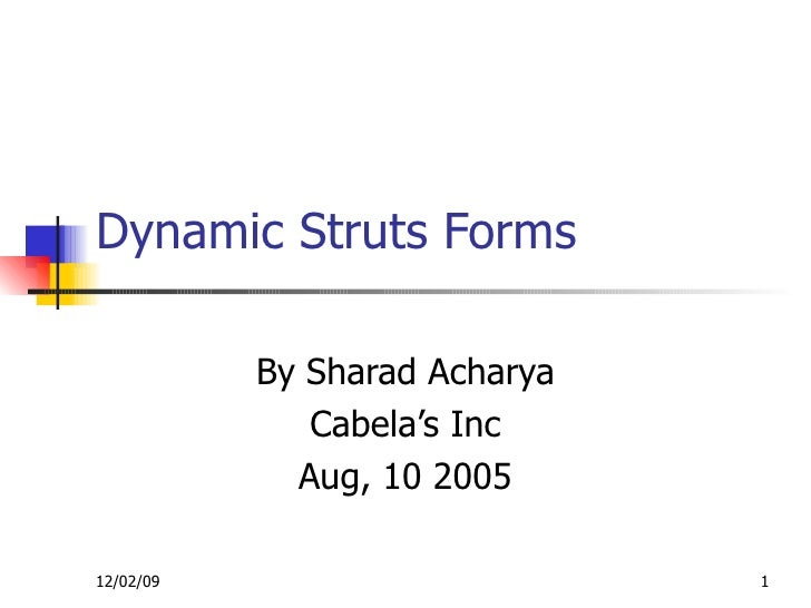 Dynamic Struts Forms By Sharad Acharya Cabela's Inc Aug, 10 2005