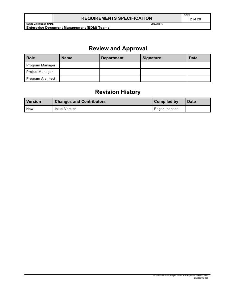 Edm requirements specification sample for Etl requirements template