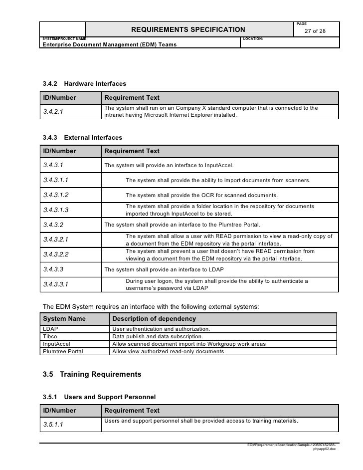 intranet requirements template