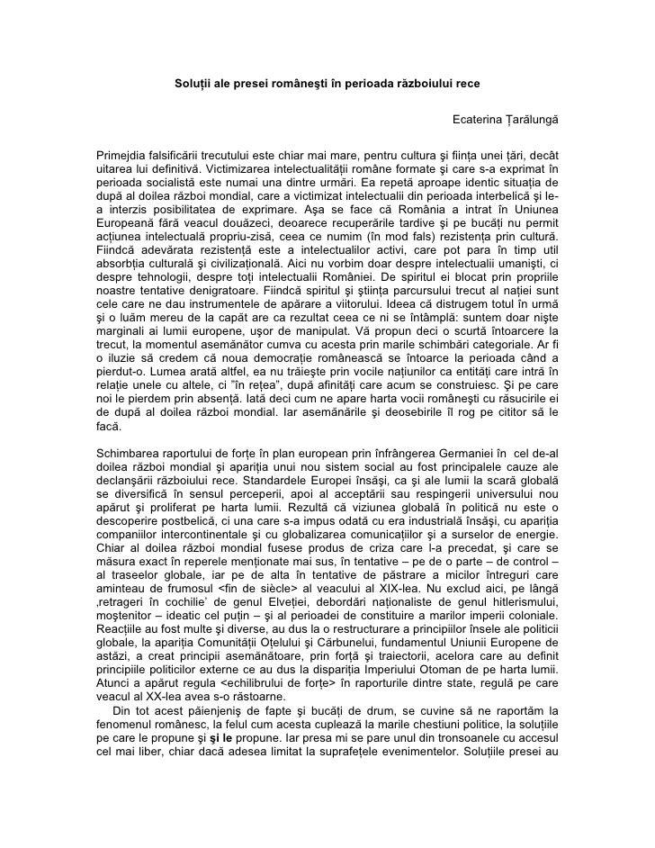 Soluţii ale presei româneşti în perioada războiului rece                                                                  ...