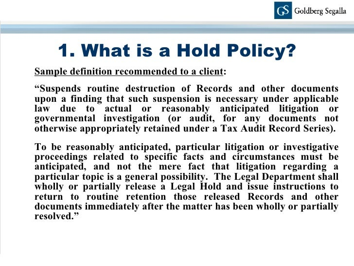 Electronic Document Retention And Legal Holds – Document Retention Policy