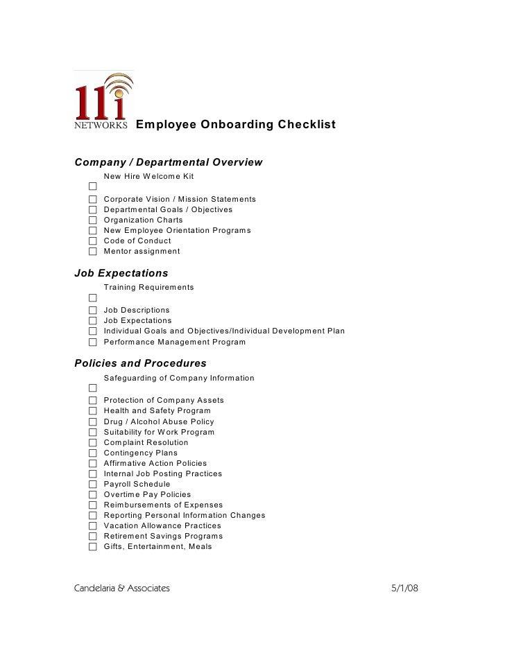 Employee Onboarding Checklist
