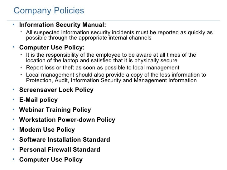 Employee security training 1 for Computer security policy template