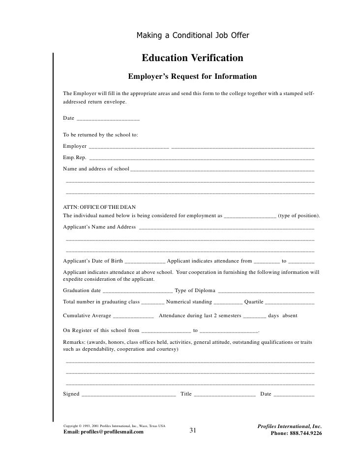 ... 35. Making A Conditional Job Offer Education Verification ...