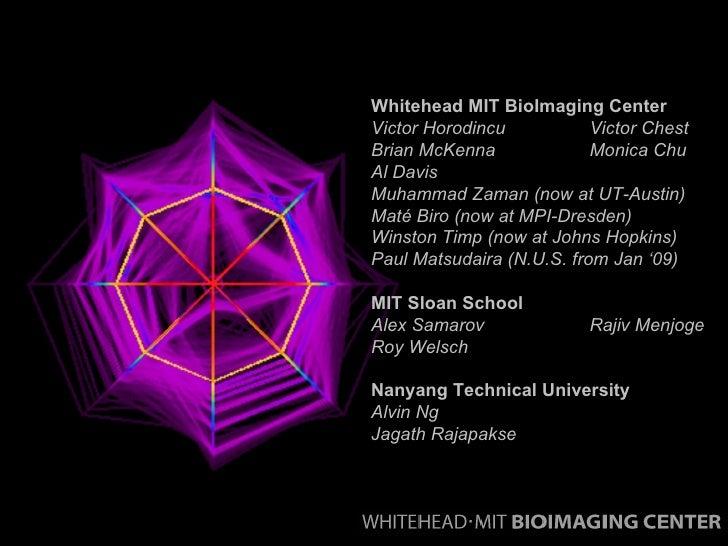 Whitehead MIT BioImaging Center Victor Horodincu  Victor Chest Brian McKenna Monica Chu Al Davis Muhammad Zaman (now at UT...