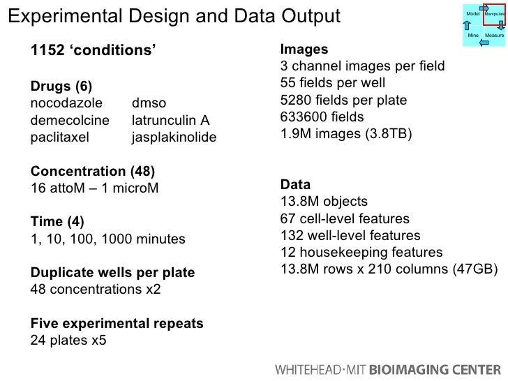 Experimental Design and Data Output  1152 'conditions' Drugs (6) nocodazole  dmso demecolcine  latrunculin A paclitaxel  j...