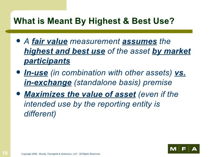 fair value and market value difference