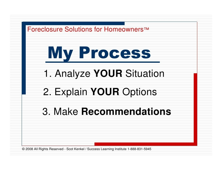Foreclosure Solutions for Homeowners™                    My Process              1. Analyze YOUR Situation              2....
