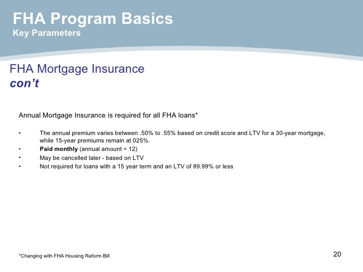 FHA Mortgage Insurance con't <ul><li>Annual Mortgage Insurance is required for all FHA loans* </li></ul><ul><li>The annual...
