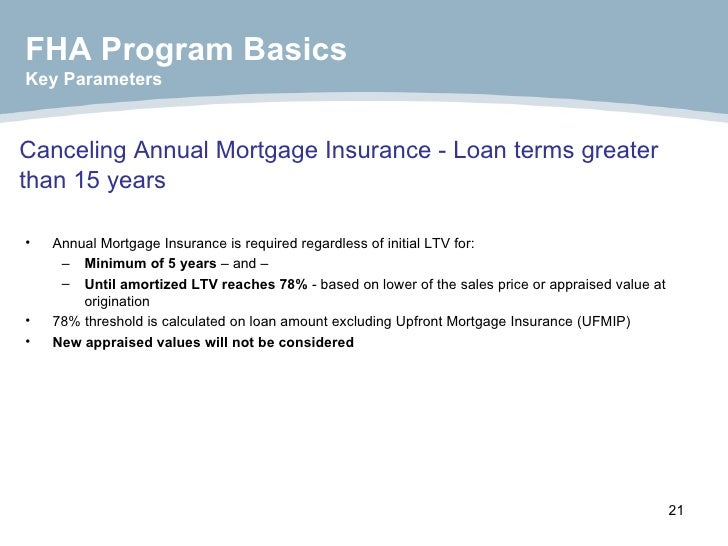 Canceling Annual Mortgage Insurance - Loan terms greater than 15 years <ul><li>Annual Mortgage Insurance is required regar...