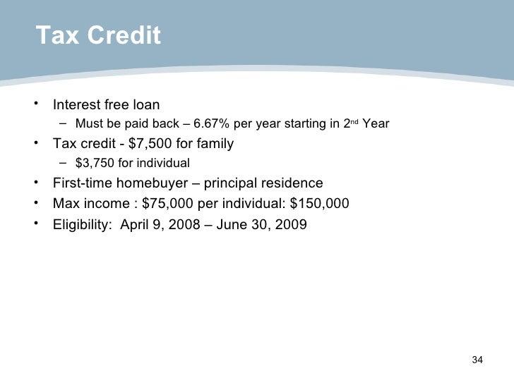 Tax Credit <ul><li>Interest free loan </li></ul><ul><ul><li>Must be paid back – 6.67% per year starting in 2 nd  Year </li...