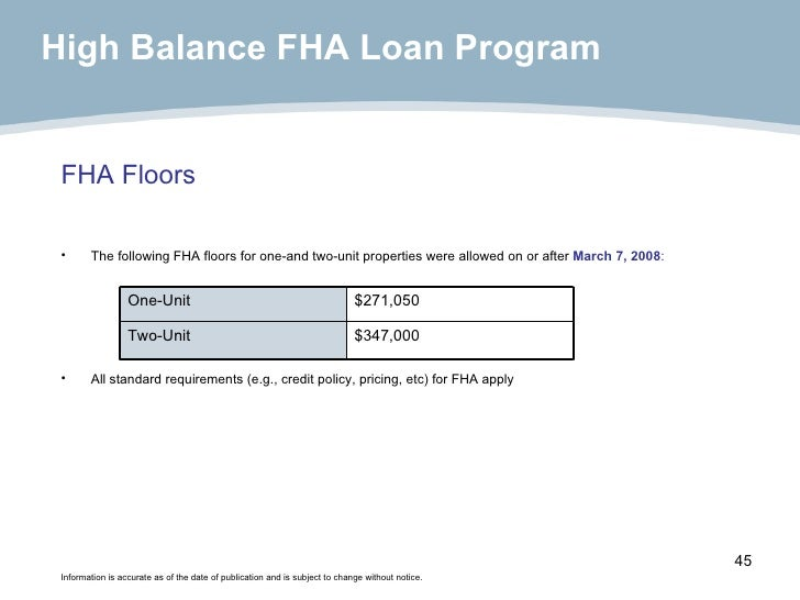 FHA Floors <ul><li>The following FHA floors for one-and two-unit properties were allowed on or after  March 7, 2008 : </li...