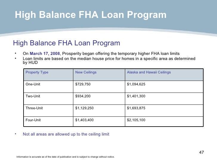 <ul><li>On  March 17, 2008 , Prosperity began offering the temporary higher FHA loan limits </li></ul><ul><li>Loan limits ...