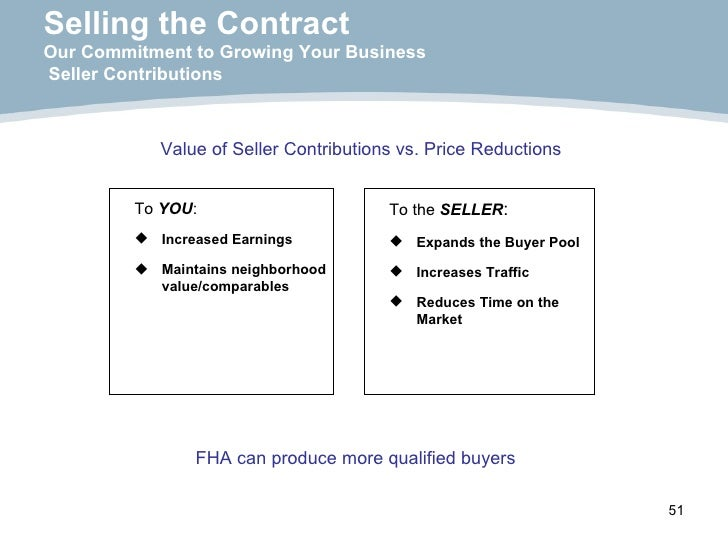 Selling the Contract Our Commitment to Growing Your Business  Seller Contributions <ul><li>Value of Seller Contributions v...