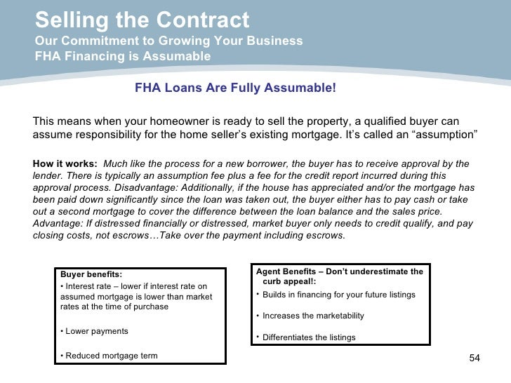 Selling the Contract Our Commitment to Growing Your Business FHA Financing is Assumable FHA Loans Are Fully Assumable! Thi...