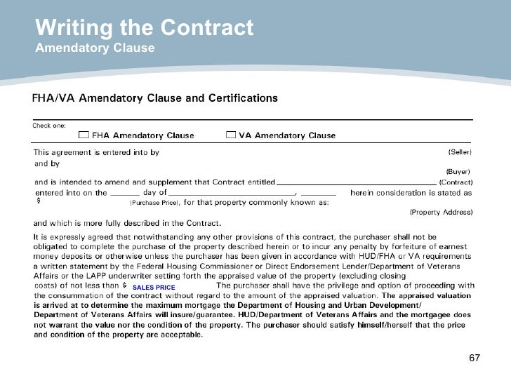 Writing the Contract Amendatory Clause SALES PRICE