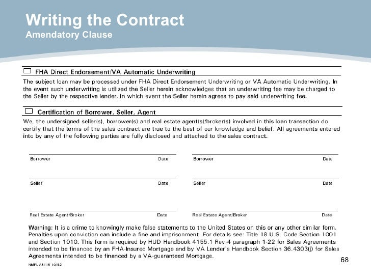 Writing the Contract Amendatory Clause