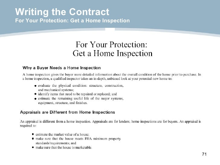 Writing the Contract For Your Protection: Get a Home Inspection