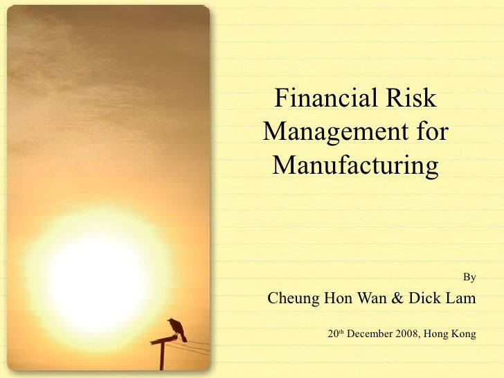 Financial Risk Management for Manufacturing By Cheung Hon Wan & Dick Lam 20 th  December 2008, Hong Kong