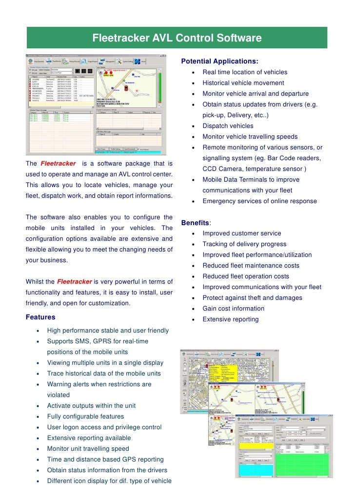 Fleetracker AVL Control Software                                                            Potential Applications:       ...