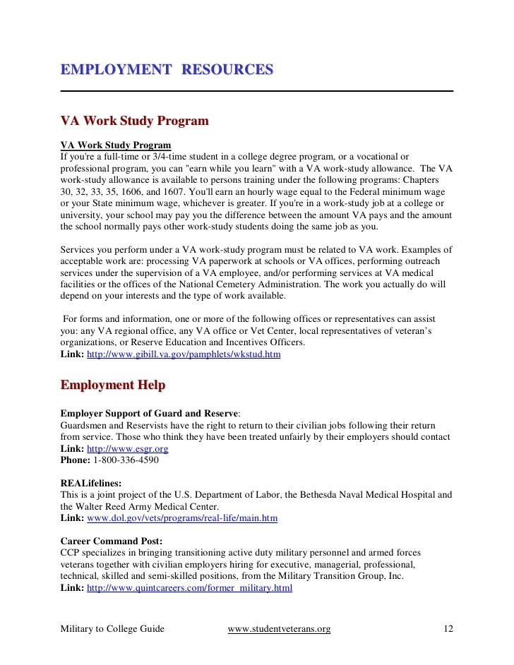 resume for work study