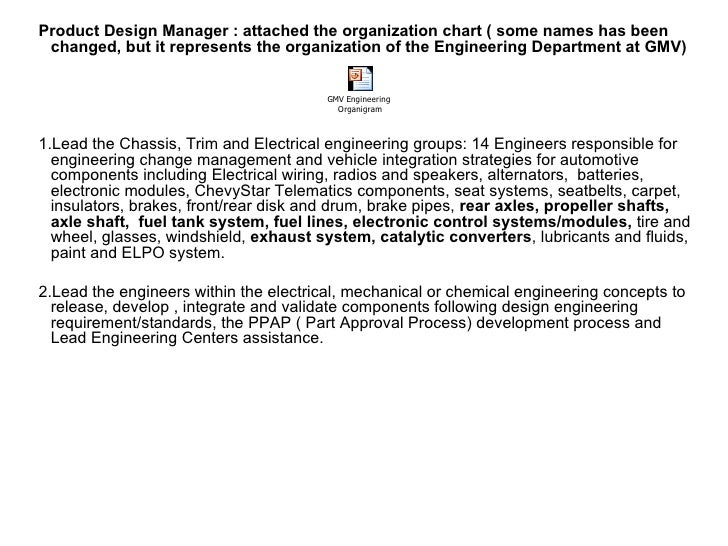Product Design Manager : attached the organization chart ( some names has been  changed, but it represents the organizatio...