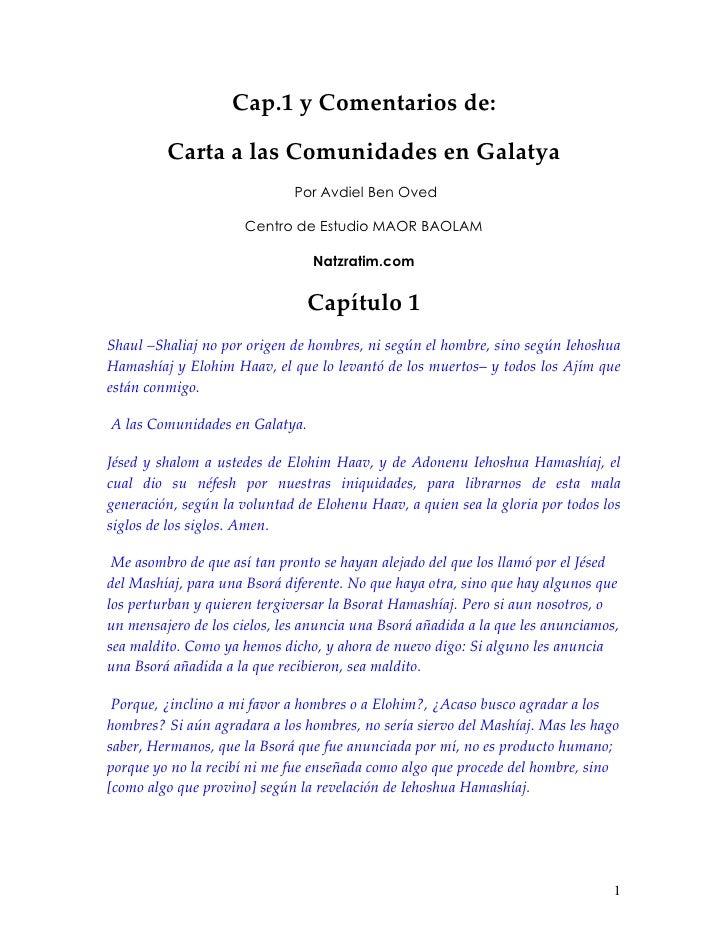 Cap.1 y Comentarios de:           Carta a las Comunidades en Galatya                               Por Avdiel Ben Oved    ...