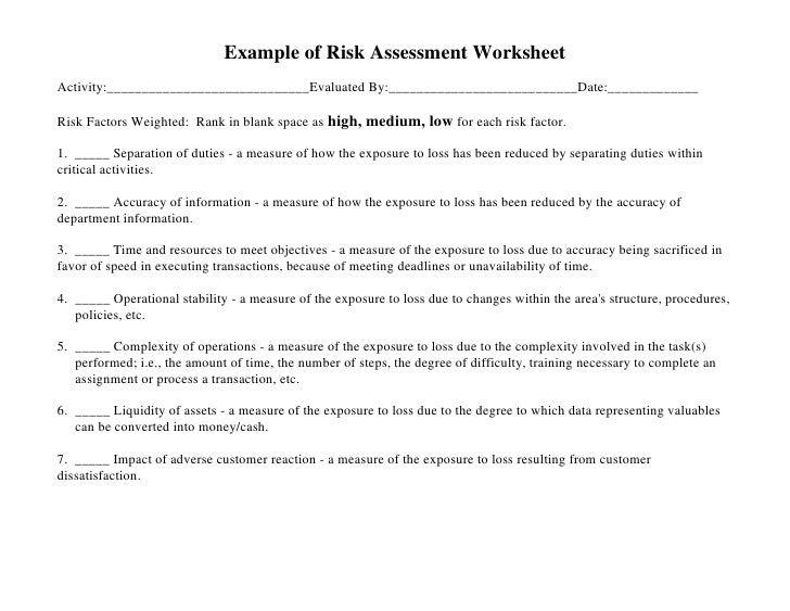 General Employee Risk Management Course – Risk Management Worksheet