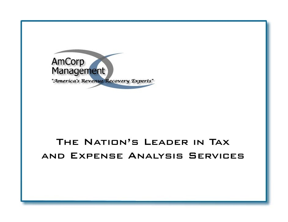 The Nation's Leader in Tax and E     Expense Analysis S             A        Services