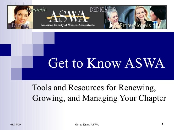 Get to Know ASWA Tools and Resources for Renewing, Growing, and Managing Your Chapter