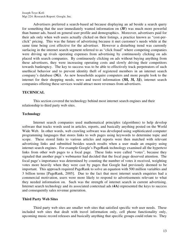 Joseph Teye-Kofi Mgt 224: Research Report: Google, Inc.          Advertisers preferred a search-based ad because displayin...