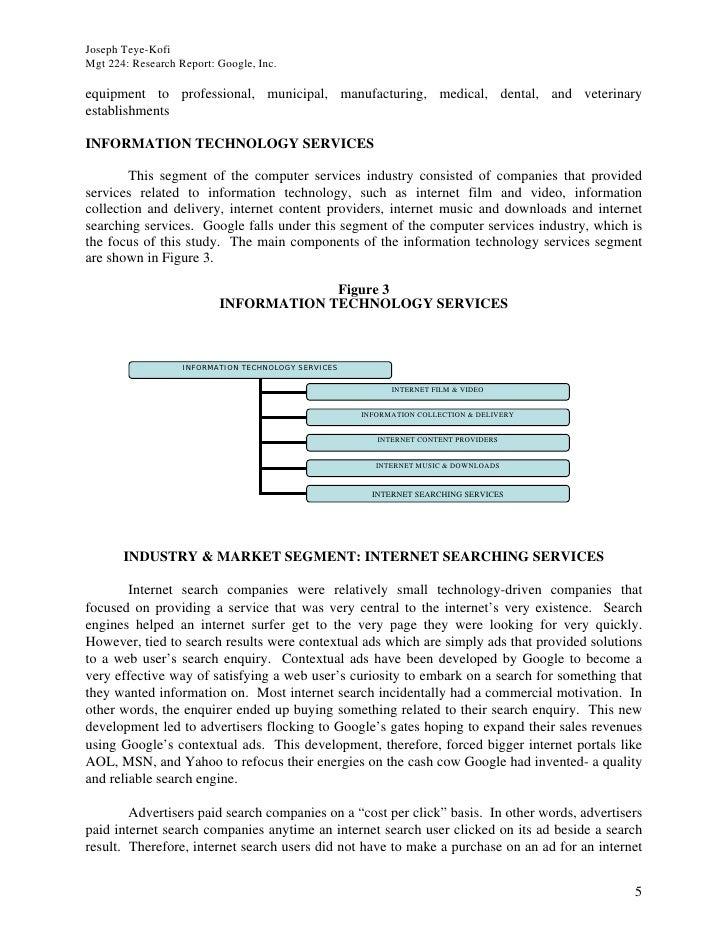 Joseph Teye-Kofi Mgt 224: Research Report: Google, Inc.  equipment to professional, municipal, manufacturing, medical, den...