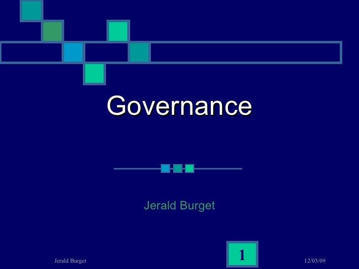 Governance Jerald Burget